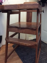 brown wooden high chair antique Perfect for movies or props or even for a little girl tag likes to play with dolls Vancouver, V5K 4Y6