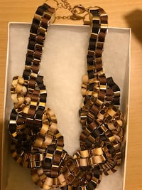NECKLACE THICK CHUNKY RIBBON SHADES OF BROWN