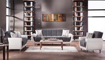 BRAND NEW GRAY ISTIKBAL SOFA BED AND LOVESEAT WITH STORAGE