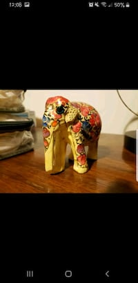 Real Hand Carved Elephant from India