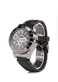 round black chronograph watch with black leather s Pacoima, 91331