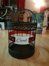 Bird cage card box, black and red.