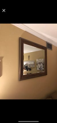 Rectangular Brown Wooden Framed Mirror  Mobile, 36693
