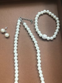 white pearl beaded necklace and earrings Fairfax