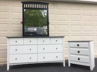 8 Drawer Long Dresser With Mirror And Nightstand White With Black Top  Manassas, 20112