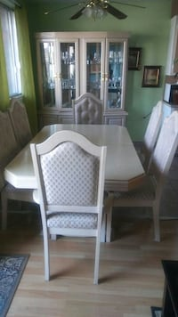 rectangular white wooden table with six chairs dining set Laval, H7M 1C8