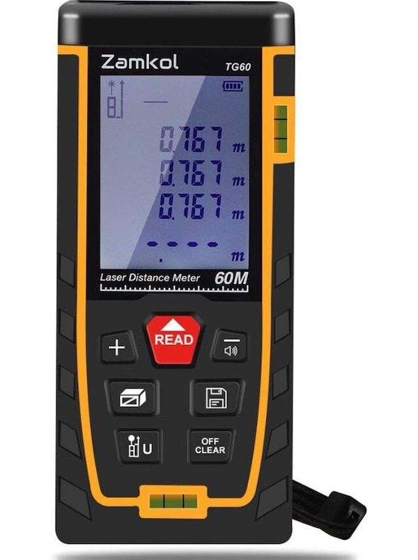 196ft/60m Laser Distance Meter with LCD Backlight Screen,Handy High  precision Mute Laser Measure Device, Measurement for Distance,Area and