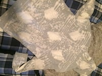 white and gray floral textile