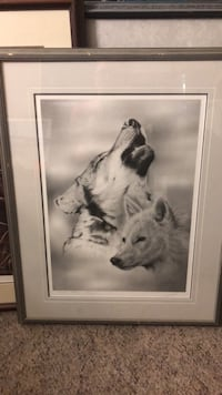 white wooden framed painting of wolf Surrey, V3T 1L4