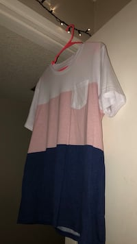 White, pink, and blue short-sleeved shirt