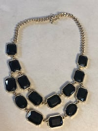 Silver and black gemstone necklace