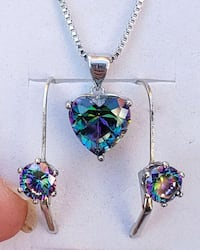 Sterling silver mystic topaz heart necklace and earrings Baltimore, 21224