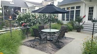 black and white patio table set