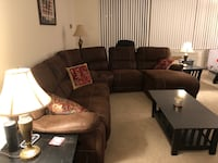 Brown fabric recliner sectional sofa with chaise Arlington, 22202