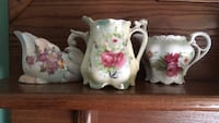 White and pink floral ceramic pitcher Beltsville, 20705