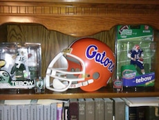 red and white Gators helmet