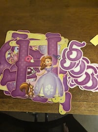 purple and pink Disney Princess print wooden table Beverly Hills, 90210