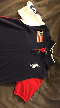 White, black, and red ralph lauren polo shirt