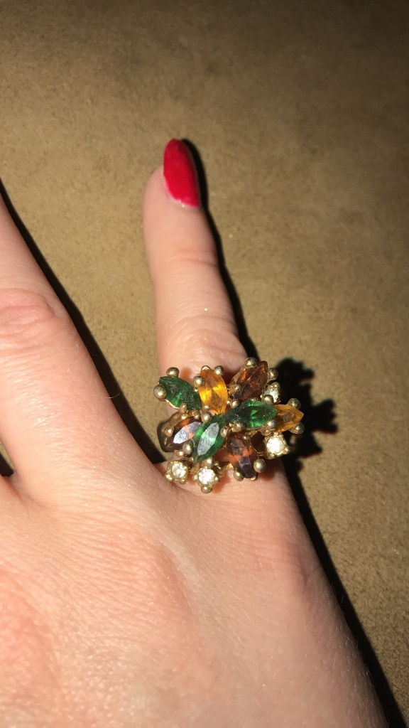 gold  and green gem floral ring