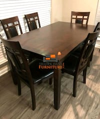 Brand New 7 Piece Wood Dining Set. NEW IN BOX