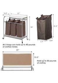 MANIAC 3 Lift-off Bags Laundry Sorter with Foldable Ironing Board, Multifunctional Laundry Cart 兰丘库卡蒙卡, 91701