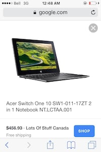 "Brand New Acer Switch 10"" 2in1 Notebook 2gb Ram 32gb Hd SSD Card Slot/Other Plugins///-Android Charging Cord-- Brantford, N3S 3T3"