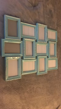 teal wooden collage photo frame