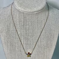 Vintage Sterling Silver Multi Stone Star Necklace