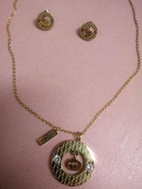 Gold plated necklace and earring set