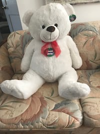 white and red bear plush toy null
