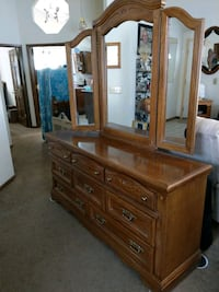 Queen size bed, frame, & matching 9-drawer Dresser