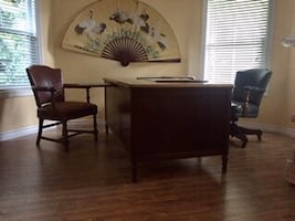 Antique Desk, chairs, side table, trash can