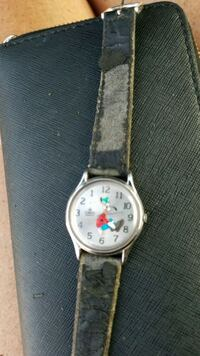 round silver analog watch with white leather strap San Diego