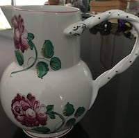 White and green floral ceramic pitcher Neptune Beach, 32266