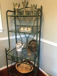 Green rod iron bakers rack with glass shelves. Moving sale best offer Reston, 20194