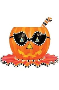 Glitter Ville Halloween punch bowl 3 piece set jack-o'-lantern pumpkin