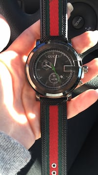 round black chronograph watch with black leather strap Clear Brook, 22624