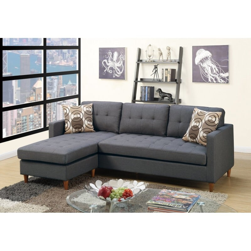NEW BLUE GRAY SECTIONAL SOFA REVERSIBLE