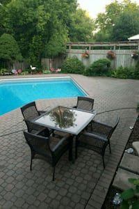 rectangular glass top table with four chairs patio Oakville, L6H 2K3