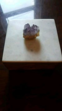 Amethyst marble top wooden box