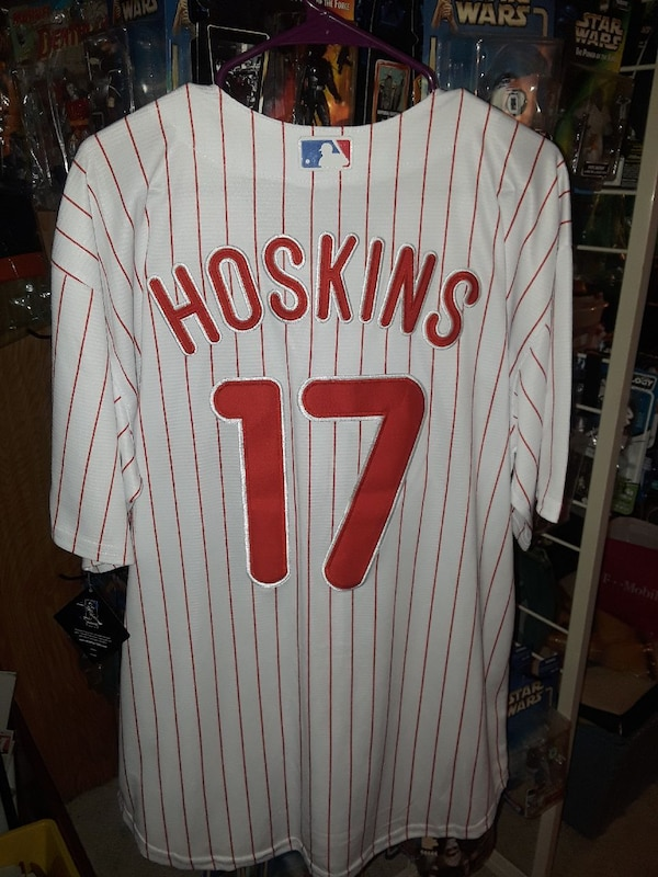 c57739236714c0 Used white and red striped Hoskins 17 baseball jersey for sale in  Gloucester County - letgo