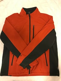 red and black zippered jacket