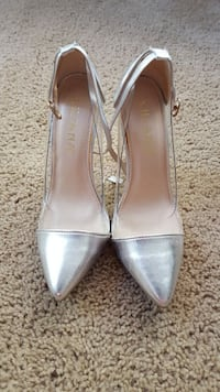Sliver and clear shoes