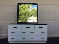 Solid Wood 7 Drawer Long Dresser With Mirror White With Black Top  Manassas, 20112