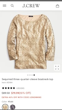 JCREW Gold Sequin Boatneck Blouse
