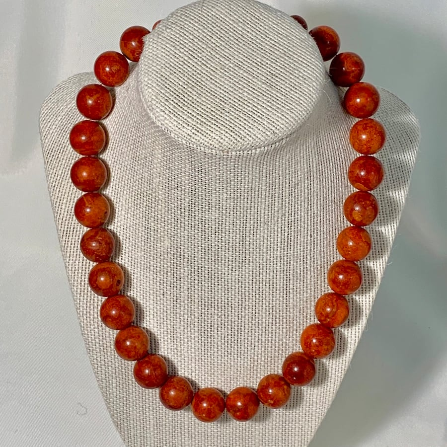 Genuine Salmon Coral Beaded Necklace with Sterling Silver Clasp