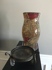 Gold and red mosaic glass candle holder Oro-Medonte, L0K