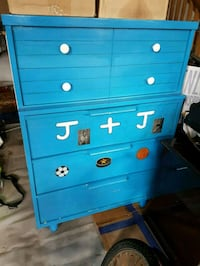 blue wooden 4-drawer chest Whitby, L1N 9P8