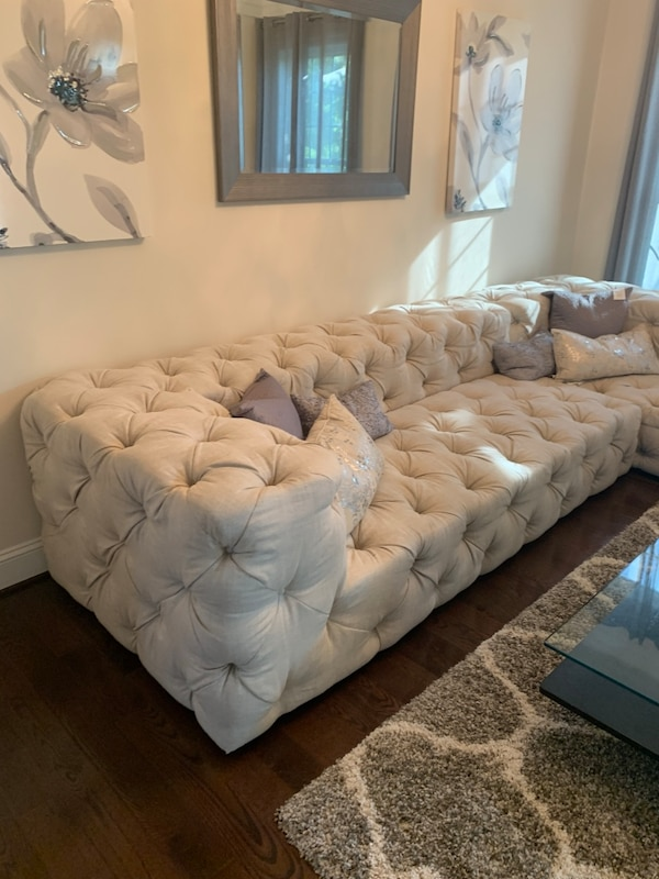 Restoration Hardware Soho Tufted Right Arm Sofa Chaise Sectional