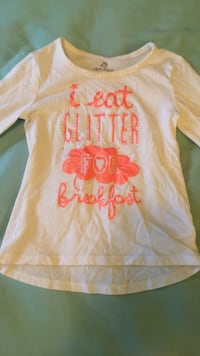 "Size 3T white and coral ""I eat glitter for breakfast"" long sleeve shirt 55 km"